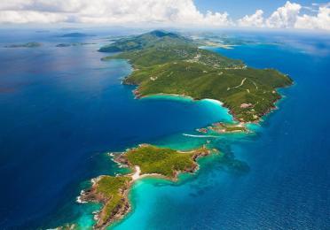 Aerial shot of St. Thomas in US Virgin Islands