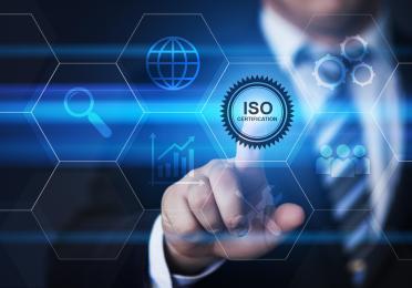 Man pressing button on virtual screen - ISO