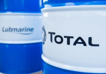 Lubricant Drums with Total Lubmarine logo