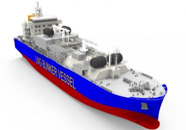 3D rendering of the future LNG bunker vessel