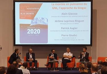 Jérôme Leprince-Ringuet speaks at a panel discussion at Euromaritime 2020