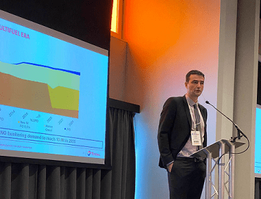 Xavier Pfeuty speaking in a keynote address at LNG Bunkering Summit 2020