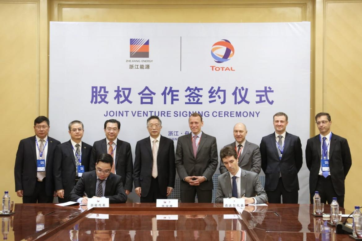Total and Zhejiang Energy Group sign a shareholders' agreement to create a joint venture company for marine fuels in Zhoushan, China.