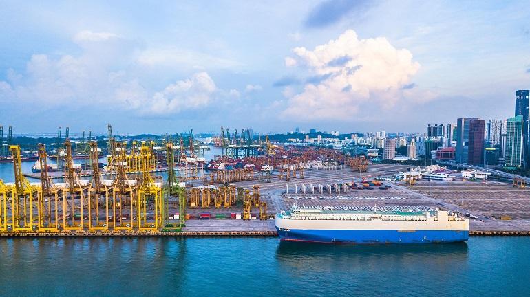 Aerial view of Singapore cargo terminal