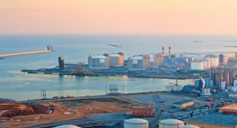 LNG Tanks at Port of Barcelona in Sunset